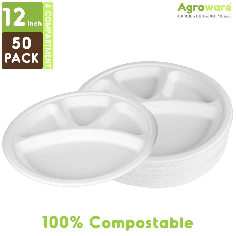 AgroWare - Platos desechables de 12 pulgadas, 4 compartimentos ...