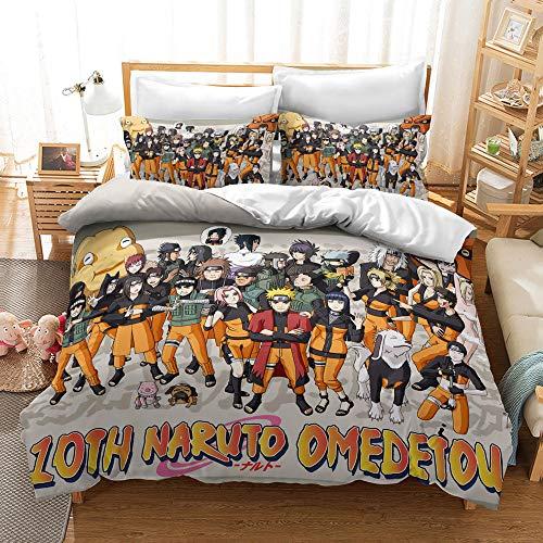 MXSS Funda de edredón Naruto, Ropa de Cama con temática de Anime, Material cómodo y Transpirable, Ideal para niños, Adolescentes y Adultos (Naruto 7,240 x 220 cm-Cama 150)