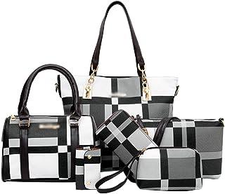 Ketamyy Damen 6-teiliges Tasche Tote Handtaschen Schultertasche Clutch Tasche Geldbörse Schlüsselhalter 6 Stück Set PU Led...