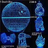 Serie Death Star BB8 R2D2 Millennium Falcon 3D Lámpara de mesa Niños Juguete Regalo Led Mesa creativa Luz nocturna Decoración del dormitorio