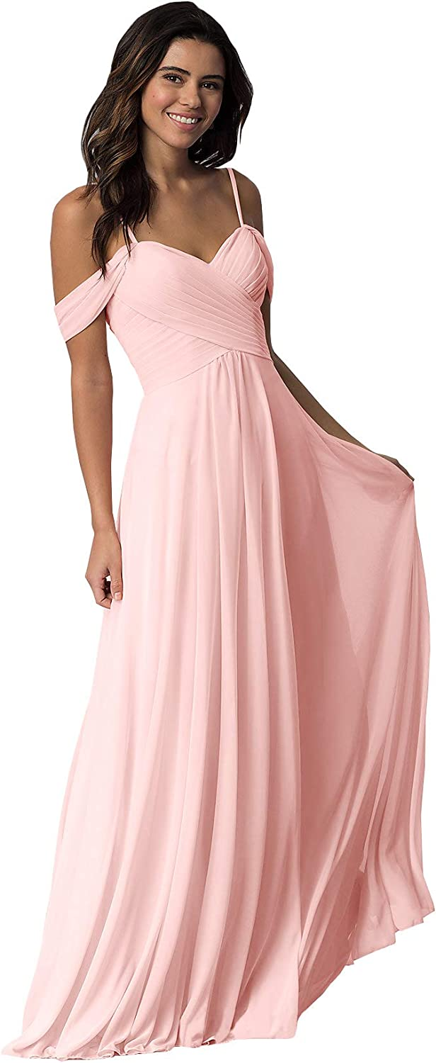 WuliDress Women's Off The A Line Bridesmaid Dress Ruched Prom Party Evening Gown