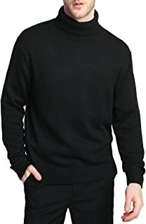 Kallspin Men's Merino Wool Blended Knitwear Jumpers Relax Fit Turtle Neck Sweater Pullover
