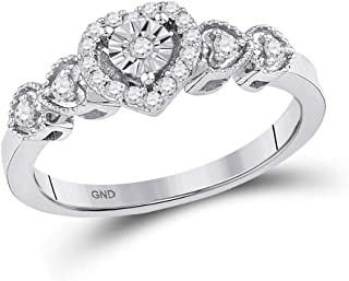 FB Jewels 10K White Gold Womens Round Diamond Heart Ring 1/5 Cttw