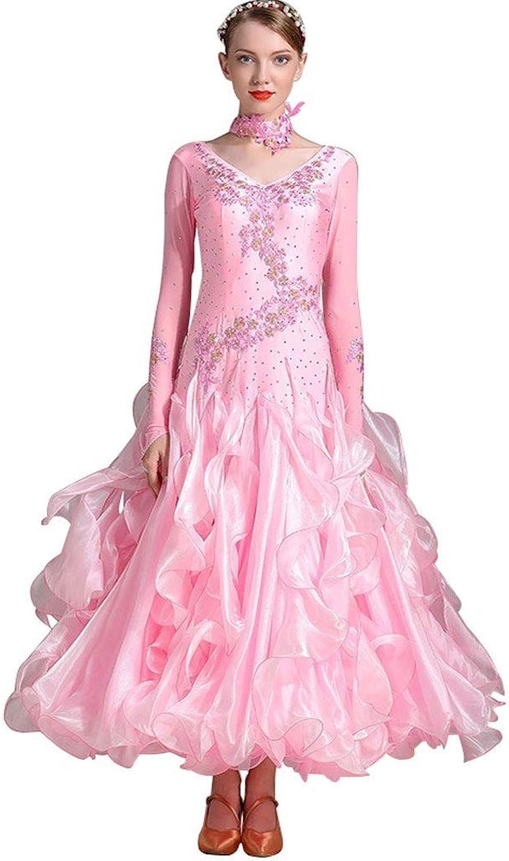 YYHSND Dance Wear Performance Clothing National Standard Dance Costume Women's Diamond Competition Suit Waltz Performance Clothing Dance skirt (color   Pink, Size   M)