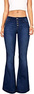 Women's Juniors Retro Bell Bottom Wide LGE High Waisted Slim Fit Stretch Flared Denim Jeans Pants