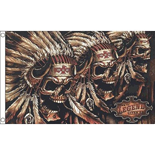 AZ FLAG Drapeau Tête de Mort avec Indiens 150x90cm - Drapeau Pirate Indien 90 x 150 cm - Drapeaux