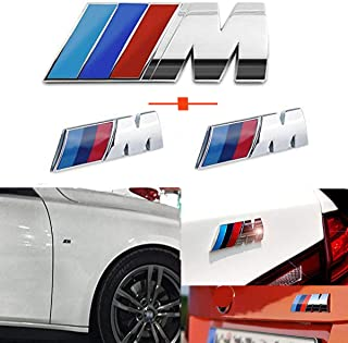 Haocc Loud M Silver 3pcs ABS Plastic Tri Color Fender Side +Rear Trunk Emblems Logo Decal Badge Sticker for All BMW