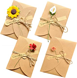 Handmade Greeting Cards DIY Invitation Envelopes Thank You Flower Postcard 12 Pack