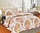 Tache Home Fashion Tache 2 Piece Sunshine Festival White Gold Fancy Patterned Duvet Cover Set, Twin