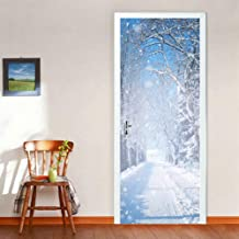 Tifege Door Wall Mural Wallpaper Stickers DIY Home Decoration 3D Quote Poster Art Decor Removable Self-Adhesive Winter Snow 30.3x78.7 DM022