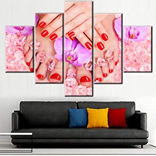 Contemporary Wall Art Manicure and Pedicure Pictures for Living Room Red Nail Paintings 5 Piece Prints on Pink Canvas Beauty Salon Artwork House Decor Framed Gallery-Wrapped Ready to Hang(60''Wx40''H)