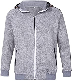 Men's Solid Color Sweat Jacket Hooded Hoodie Sweatshirt Pullover Jacket with Hooded Zip Fleece Outwear Blouse