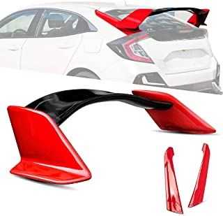 Archaic Spoiler for 2016-2021 Honda Civic Hatchback, Rear Trunk Lid Wing Spoiler FK4 FK7 FK8   EOS Type-R Style JDM ABS Glossy(Red, with Base)