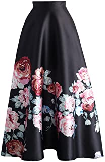 Eiffel Women's Flower Print Colorblock High Waist A-line Swing Maxi Skirt Dress