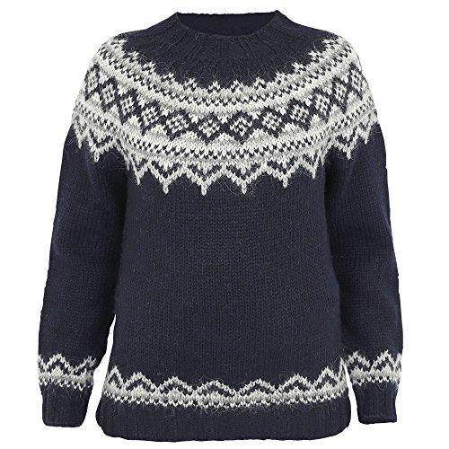 ICEWEAR Damen-Brynja-Pullover aus 100{3ce9d23020f66a8d3d88e9ee0f42e3667d9febe9c266efd63dbe6e30499eaf07} Islandwolle mit Rundhalsausschnitt | nordisch inspiriertes traditionelles Lopapeysa-Muster | in Vier Farbgebungen, entworfen in Island