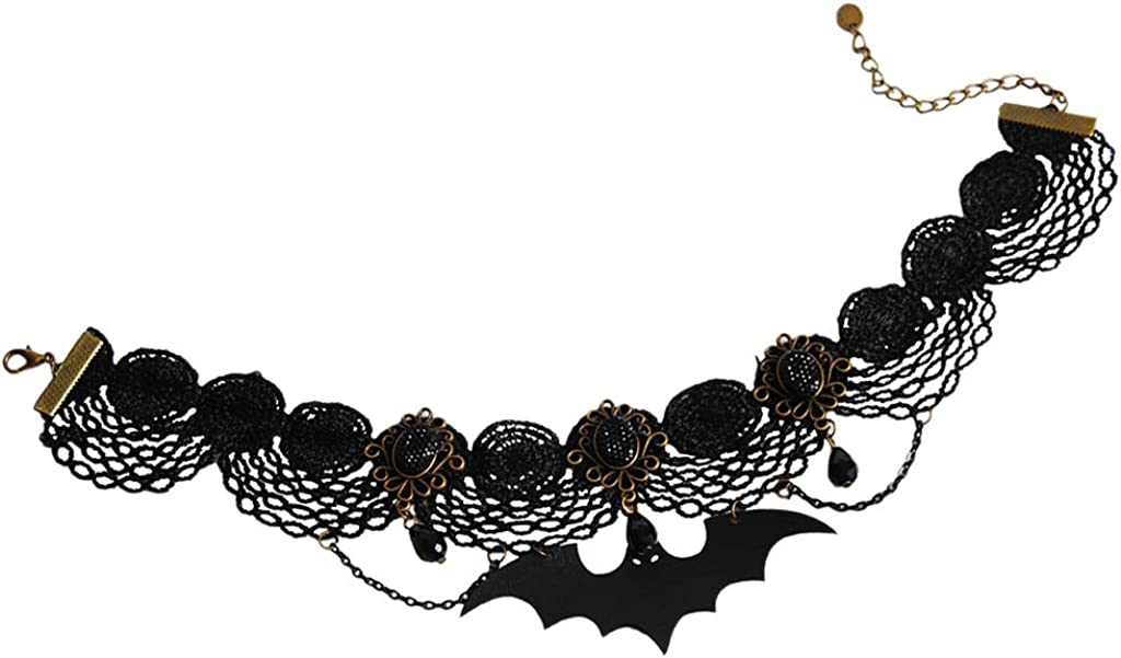 Colcolo Black Lace Victorian Gothic Punk Bat Pendant Choker Collar Necklace Costume