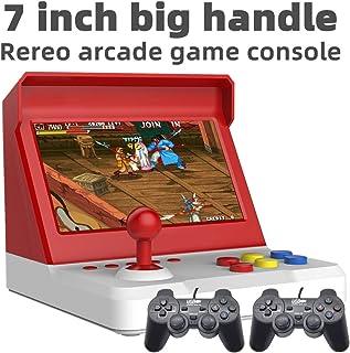 7.0 pulgadas Quad-core Multiplayer retro arcade game console 9000 juegos gratis mame/neogeo /cp1/cp2/bin/gba/gbc/gb/sfc/fc/smd Batería de litio de música de video ahorrable recargable (blanco-rojo)
