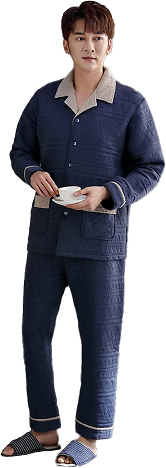 WIITON Men's 100% Cotton Thickened Long-Sleeved Buttoned Casual Home wear Pajamas Set