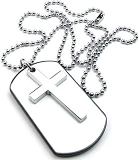 Mens Womens Army Style Cross Dog Tag Pendant Necklace, 27 inch Chain, White Silver