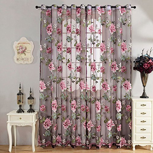 Souarts Strauchpäonie Muster Blume Transparent Gardine Vorhang Schlaufenschal Deko für Wohnzimmer Schlafzimmer Studierzimmer Nur eine Schal (100x250cm, Lila)