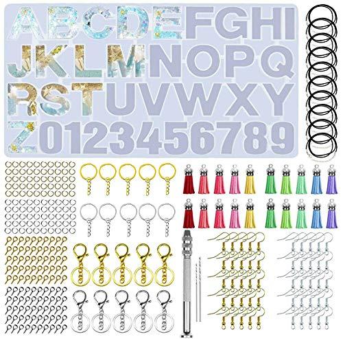 BetterJonny Juego de 306 moldes de resina de silicona con alfabeto, carta y número de moldes de silicona y herramientas para llaveros, pendientes y collares