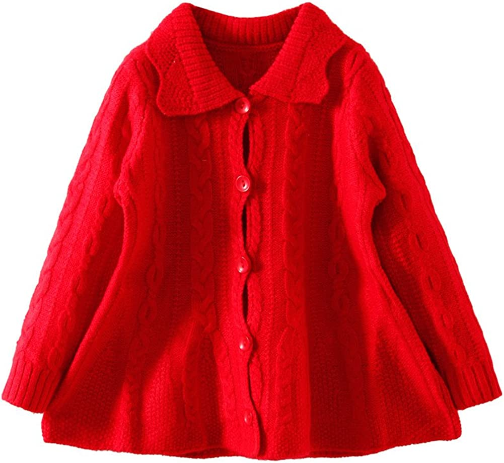 LittleSpring Girls Knit Cable Sweater Cardigan Button Down