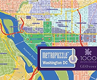 GeoToys — Metropuzzle Washington, D.C. — 1000 Piece Puzzles for Adults — Detailed City Map Geography Jigsaw Puzzle — United States City Map Poster Included