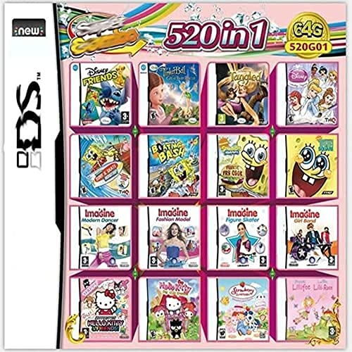 AlrSoaral 520 in 1 Game Cartridge, DS Game Pack Card Compilations, Super Combo Multicart for Nintendo DS, NDSL, NDSi, NDSi LL/XL, 3DS, 3DSLL/XL, New 3DS, New 3DS LL/XL, 2DS, New 2DS LL/XL