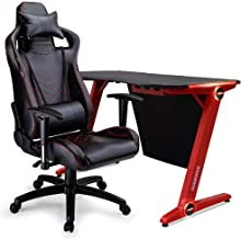 OVERDRIVE Peak Gaming Chair and DX3 Desk with LED Lighting Setup Combo, Black and Red