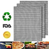 Non-Stick BBQ Grill Mats Set of 3, Reusable Barbecue Grill Mesh Mat, Heavy Duty 17' x 13' Heat Resistant Pad, Easy to Clean Grilling & Baking Accessories, Uses on Smoker, Pellet, Gas, Charcoal Grill