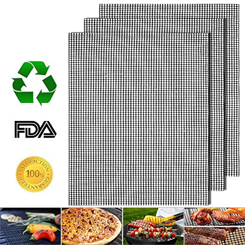 """Non-Stick BBQ Grill Mats Set of 3, Reusable Barbecue Grill Mesh Mat, Heavy Duty 17"""" x 13"""" Heat Resistant Pad, Easy to Clean Grilling & Baking Accessories, Uses on Smoker, Pellet, Gas, Charcoal Grill"""