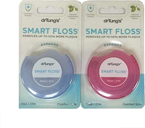 DrTung's Smart Floss, 30 yds, Dental Floss - Natural Cardamom Flavor Colors May Vary (Pack of 2)