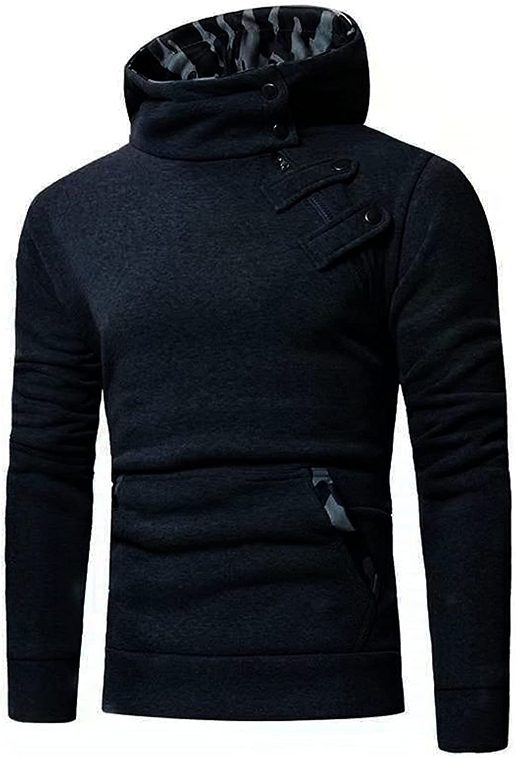 Hoodies for Men Casual Long Sleeve Sweater Camouflage Stitching Button Hooded Sweatshirt Top Blouse with Pocket