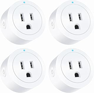 Amysen Smart Wi-Fi Plug(4-Pack), Smart Outlet Mini Socket No Hub Required, Control Your Devices from Anywhere Works with Alexa and Google Assistant
