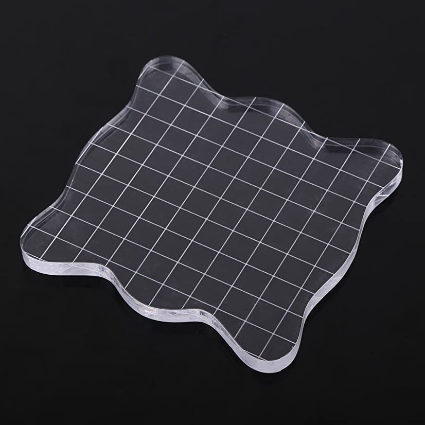 Acrylic Clear Stamping Blocks with Grid,Transparent Stamp Blocks Pad for Scrapbooking Color Stamping Process Essential Tools(1010cm)