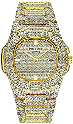 Gold Dual Rhinestone Bezel Dress Watch