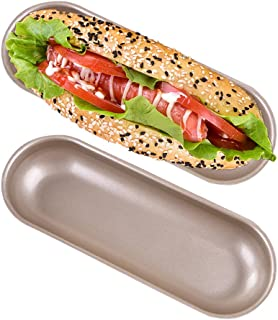2 Pack Hot Dog Bun Pan Non-stick Carbon Steel Hotdog-shaped Cake Pan, FDA Approved for Oven Baking-7.6×2.9 Inch