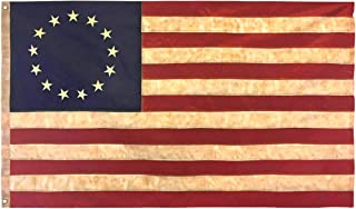 Morigins USA Tea Stained American Flag 3x5 FT Nylon Polyester Embroidered Stars and Sewn Stripes 13 Stars