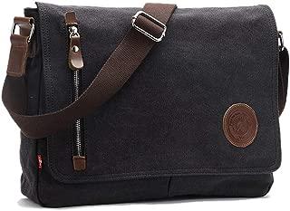 Leparvi Canvas Crossbody Messenger Bag for Men Shoulder Bag Vintage Satchel Fashion Rucksack Bag (Black)