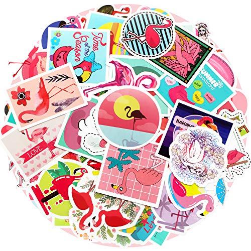 Zonon 100 Pieces Flamingo Stickers Waterproof Vinyl Flamingo Laptop Decals Cute Flamingo Graffiti Sticker Set for Water Bottle Car Skateboard Luggage, Teen Girls DIY Decoration