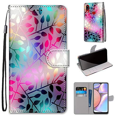 Miagon Flip PU Leder Schutzhülle für Samsung Galaxy A10S,Bunt Muster Hülle Brieftasche Case Cover Ständer mit Kartenfächer Trageschlaufe,Zweig