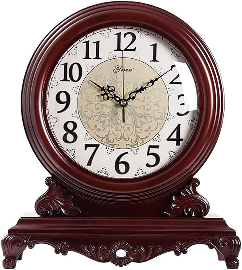 Fireplace Clock Solid Wood Retro Silent Digital A surprise price is realized OFFicial Nostalgic