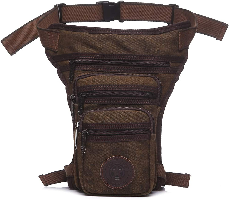 Waist Bag, Shoresu Men's Waist Fanny Pack Drop Leg Bag Belt Tactical Motorcycle Multi-Purpose Bags Deep Brown