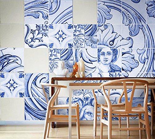 Adhesivos para Azulejos - Paquetes con 30 (20 x 20 cm, Azulejo Portugués - Revestimiento para Paredes - Herencia Portuguesa - Impermeable - Decoración de Interiores - Arte Decorativo - Ideas Creativas)
