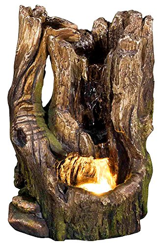 11' Cedar Cove Log Fountain w/LED Light: Small Indoor/Outdoor Water Feature for Tabletops, Gardens & Patios. Adjustable Pump