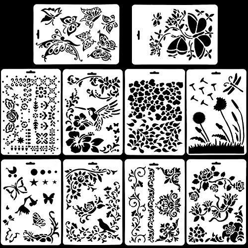 10 Stück Kunststoff Zeichenschablonen Tiere (Flowrs, Vögel, Schmetterlinge) Malen, Wiederverwendbar, Flexibel, für Scrapbooking, Geburtstagskarten, Wanddekoration