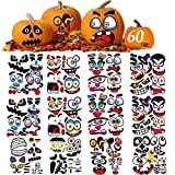 Halloween Pumpkin Decorating Stickers Kit, Make Jack-O-Lantern Face Decals for Pumpkins and Squashes, 60 Funny Expressions Crafts Halloween Treat Party Decor Idea Gifts for Kids - 12 Sheets