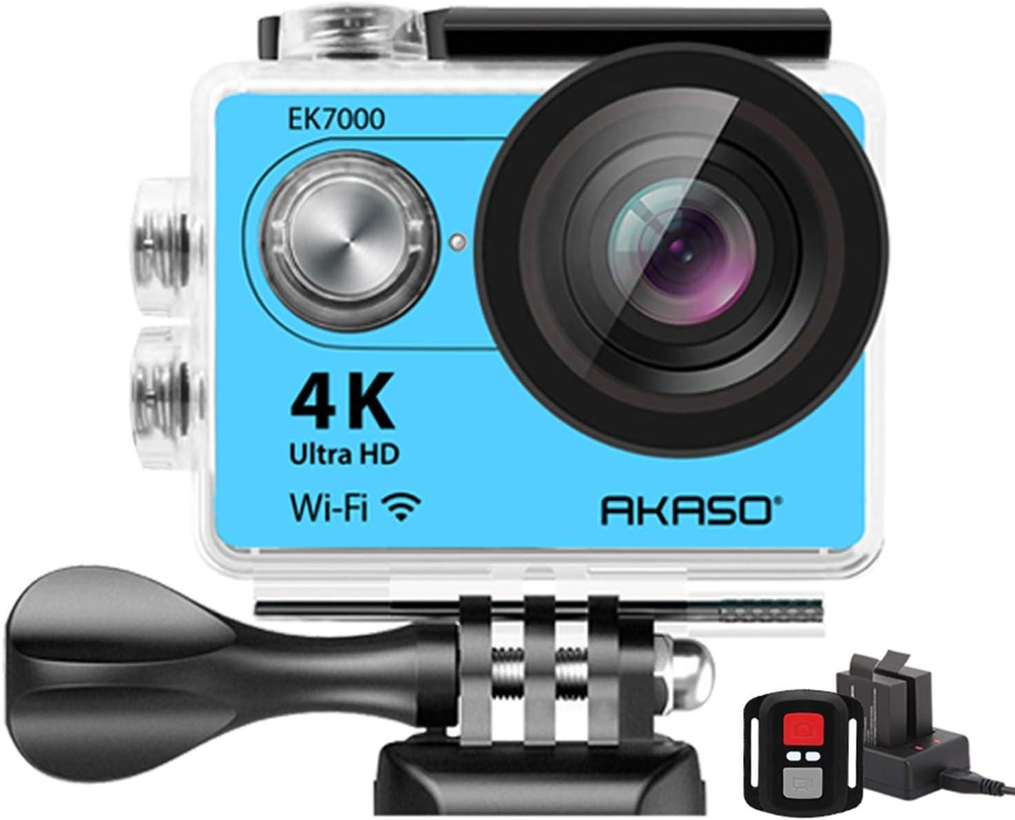 AKASO 4K Wi-Fi Sports Action Camera Ultra HD Waterproof DV Camcorder 12MP 170 Degree Wide Angle LCD Screen/Remote, Royal Blue (EK7000BL) : Electronics