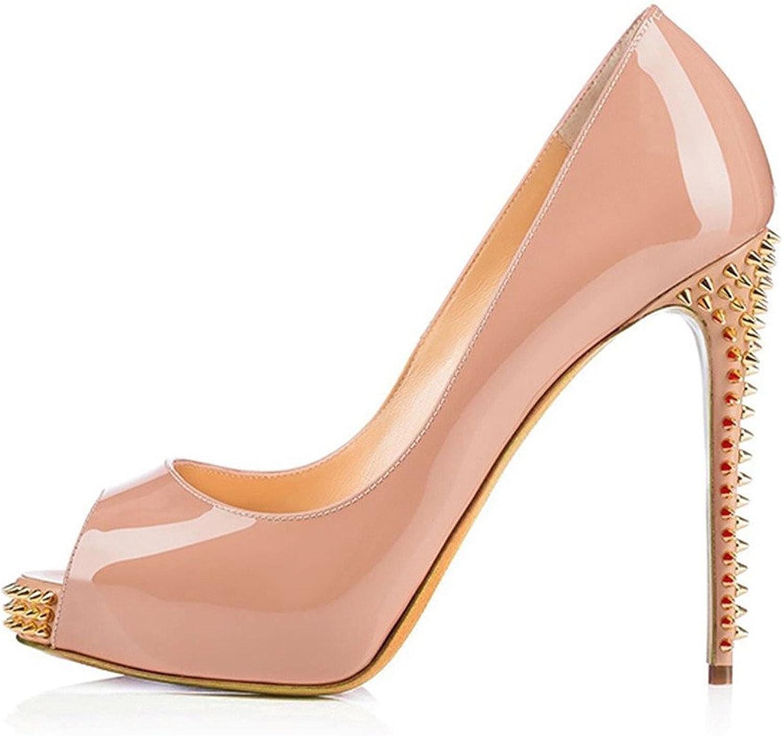 AIWEIYi Womens Peep Toe Rivets Stilettos High Heel Dress Pump Black