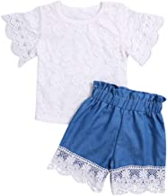Toddler Baby Girls Clothes Ruffle Cami Top White Lace Tank Top Striped Short Pants Summer Outfit Set for Girls Kids